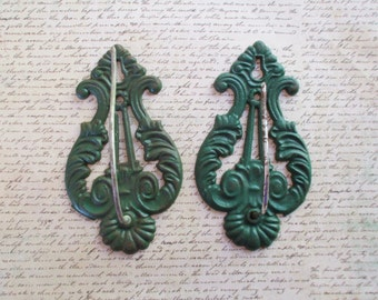 Pair of Vintage Cast Iron Hanging Receipt Holders