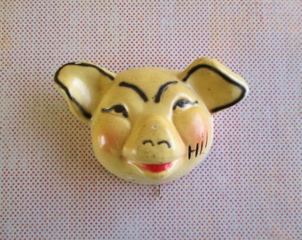 SALE Vintage Chalkware Pig Towel Holder