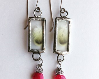Brightling, Ruby and Feathers Earrings