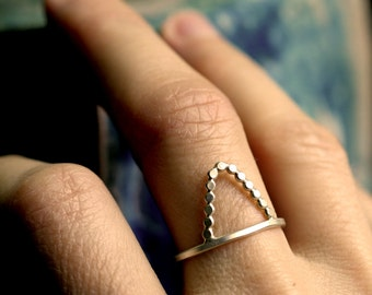 small triangle ring silver mountain ring simple modern ring minimalist ring sterling silver stacking rings SINGLE STARRY MOUNTAIN ring