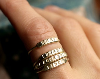 stackable name ring initial ring silver id ring gold stacking ring personalized ring gold name ring hand stamped stacking name ring ID RING