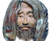 Bodhidharma Daruma Face Wall Hanging Raku Ceramics Sculpture