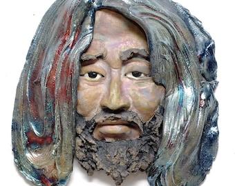 Wall Art Old Man Zen Bodhidharma Daruma Face Wall Hanging Raku Ceramics Sculpture