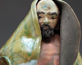 Figurative Sculpture Old Man Bodhidharma Sculpture With a Green Robe in Raku Ceramics