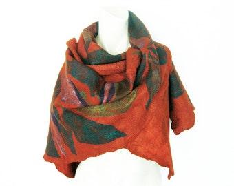 Felted Nuno Scarf Wool Silk Shawl Rust-Orenge Turquoise Emerald Green Purple