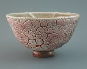 Chawan, wood-fired iron rich stoneware with crawling shino and natural ash glazes