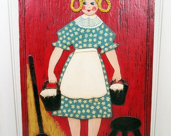 Vintage Folk Art Wall Hanging Milk Maid Farm Woman Handmade Farmhouse Chic Art