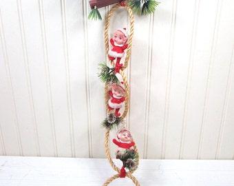 Vintage Hanging Elves Christmas Decoration Noel Santa Claus Outfit Elf Retro