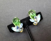 Weiss India Inspired Green Lava Rock Rhinestone Clip Earrings -Vintage Green and Blue Bridal Jewelry Runway  1960's 60's Crystals Turquoise