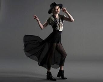 Sheer Skirt, Black Maxi Skirt, Circle Skirt, Black Mesh Skirt, Boho Black Skirt, Elastic Waist Skirt, Full Skirt, Norwegian Wood