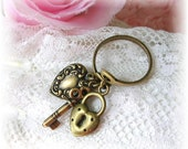 Vintage Style Brass Adjustable Ring Key Heart Padlock USA Antiqued Brass Skeleton Key Vintage Heart Charm Ring