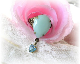 Vintage Style Adjustable Ring Pastel Blue Stone Heart Charm Dangle Tear Pear Drop Ring Brass Etched Antiqued