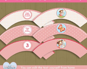 Kitty Cat Cupcake Wrappers / INSTANT DOWNLOAD kitten birthday cupcake wrappers / girl cat printable #P-2-wraps - you can edit text from home