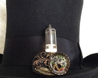 Electronic white fire steampunk jewelry - steampunk jewelry - vacuum tube brooch - steampunk vacuum tube pin - white LED jewelry