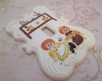 Ceramic Light Switch Cover, Vintage Ceramic Switchplate, Raggedy Ann and Andy, nursery decor, switch plate, ceramic switch plate