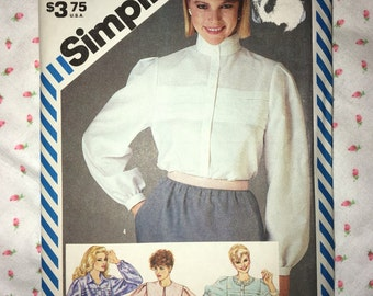 PIF Uncut Vintage 80s Simplicity Blouse Sewing Pattern # 6356 - Miss Sizes 6 & 8 - Bust 30.5 and 31.5 inches
