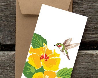 Hibiscus and Hummingbird -- 8 blank flat cards and envelopes