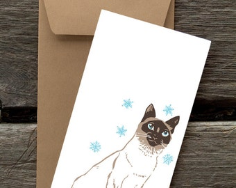 Siamese in the Snow -- 8 Blank flat cards and envelopes