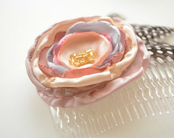Flower Hair Comb Clip in Rose Quartz, Blush Pink, dusty Rose, Champagne, Silver & Polka Dot Feathers * READY TO SHIP *
