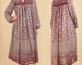 ViNtAgE Indian Cotton Dress INDIA Gauze Floral 70's HiPPiE Festival BoHo Tent Dress Large L