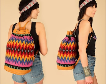 ViNtAgE Tribal KILIM Backpack // Colorful Handwoven Brown Leather // Artisan Handbag Weekender Festival Bag Rare Colors