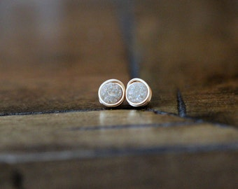 Tiny Druzy Studs , Small Post Earrings , Gold Filled , Sterling Silver , Rose Gold , Minimalist  Champagne - Micros ( Sandpaper )