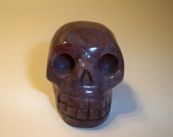 Carved Skull Figurine Purple Red Jasper Skull Home Decor, Paper Weight, Collectible, Metaphysical, Spiritual Carved Skull