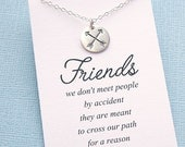Best Friend Necklace | Silver Friendship Necklace | Crossed Arrow Necklace | BFF Gift | Sterling Silver | F01