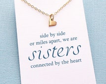 Tiny Heart Necklace | Sister Gift | Sister Necklace | Big Sister Gift | Heart Charm Necklace | Silver or Gold  | S04