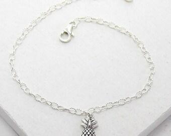 Pineapple Charm Bracelet | Delicate Everyday Bracelet | Stacking Bracelet | Hostess Gift | Hawaii Style | Sterling Silver