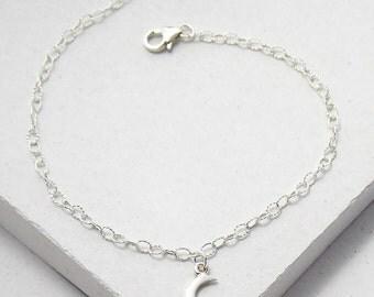 Crescent Moon Bracelet | Delicate Everyday Bracelet | Stacking Bracelet | Celestial Jewelry | Sterling Silver