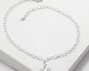 Lotus Charm Bracelet | Delicate Everyday Bracelet | Stacking Bracelet | Yoga Jewelry | Sterling Silver