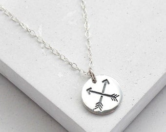 Silver Friendship Necklace | Best Friend Necklace | Crossed Arrow Necklace | BFF Gift | Sterling Silver