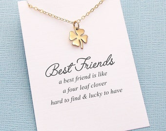 Best Friend Necklace | Four Leaf Clover Necklace, Best Friend Gift, Best Friend, Friendship Necklace, Best Friend, Bestfriend Gift | F06