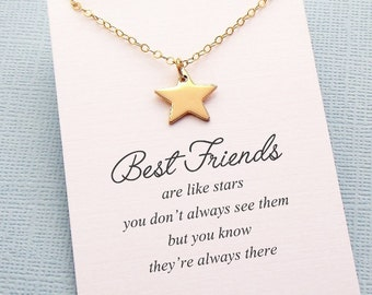 Best Friend Necklace | Star Necklace, Best Friend Gift, Friendship Necklace, Best Friend Birthday, Friendship, Bestfriend, BFF, Bestie | F08