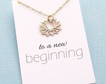 Student Gifts | Silver Lotus Necklace, Inspirational Graduation Gifts for Her, Student Gifts, Class of 2017, Gift for Friend | Y01