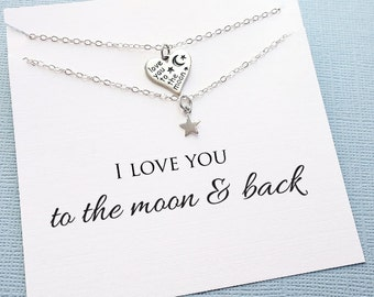 Mother Daughter Necklace | To the Moon and Back, Mother Daughter Jewelry Set, Daughter Necklace, Mother Daughter Gift, Mom Jewelry | MD06