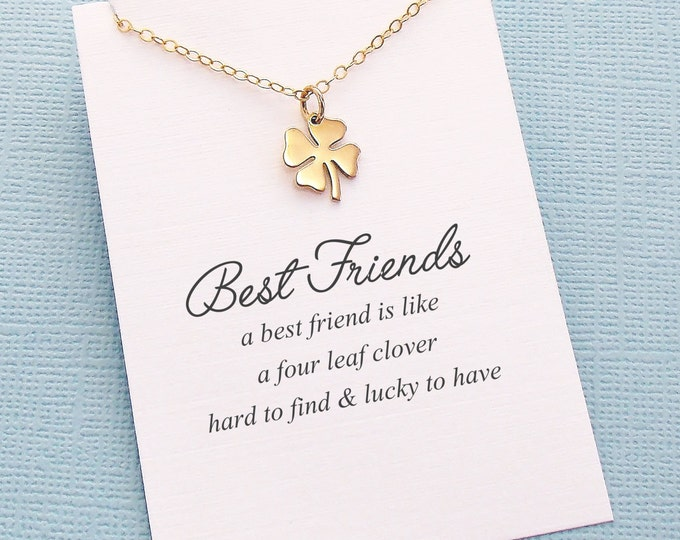 Featured listing image: Best Friend Necklace | Four Leaf Clover Necklace, Best Friend Gift, Best Friend, Friendship Necklace, Best Friend, Bestfriend Gift | F06