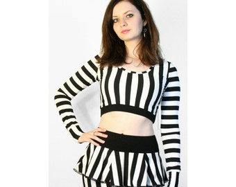 SALE: Black and White Vertical Stripe Micro Mini Skirt XS S M L xl 2xl 3xl plus size stripes beetlejuice cosplay costume flared ruffled hem