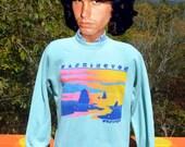 vintage 80s sweatshirt WASHINGTON westport neon rainbow raglan Medium Large 1980 bassett walker