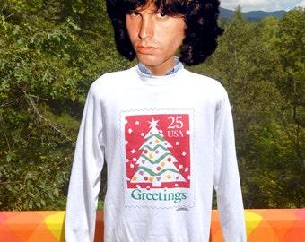 vintage 90s sweatshirt CHRISTMAS tree seasons greetings holiday postage stamp raglan crewneck Large XL preppy 1990