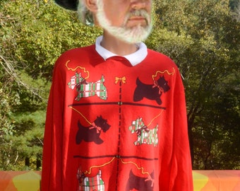 vintage 80s sweatshirt TERRIER scotty scottish dog built in polo collar XL christmas wtf