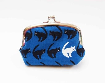 Coin purse, navy blue and black cat fabric, cotton purse