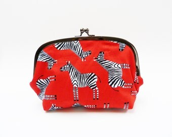Cosmetic bag, zebra fabric, red white and black, cotton purse