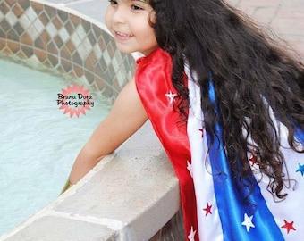 Girls Wonder Woman Cape child size Red White Blue with Stars Kids Hero Costume