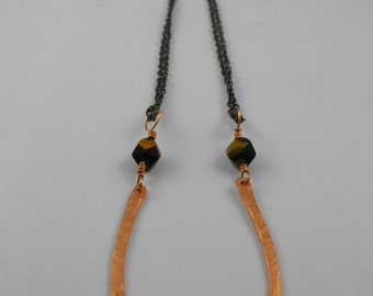 Large Lucky Hammered Horseshoe Copper and Tiger's Eye Pendant Necklace