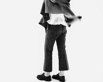 Brown Wool Tweed Cropped Trousers/Pants/Slacks