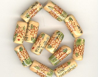 12 Vintage Porcelain Floral Barrel Beads With Chinese Writing Approximately 17mm No.207Q