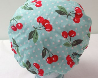 Waterproof Shower Cap - Aqua Turquoise Bath Hat with Red Cherries White Polka Dots - Rockabilly Bath and Beauty Hat
