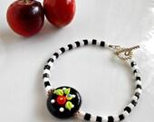 Fried Egg Poppy Flower Bracelet - Flower Beaded Bracelet - Black & White Checks - Checkerboard Bracelet - Cherry Chick - Flower Jewelry